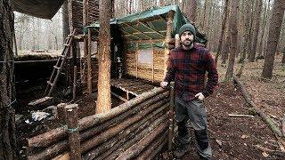 Bushcraft Camp: Full Super Shelter Build from Start to Finish.