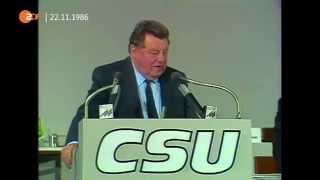 Franz Josef Strauß warnt vor SPD und Grüne 1986