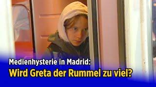 Madrid: Wird Greta der Rummel zu viel? Nur zögerlich verlässt die Klimaaktivistin den Zug