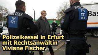 Polizeikessel auf Parkplatz in Erfurt vor dem Justizzentrum