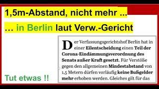 1,5m-Abstandsregel von Berliner Gericht gekippt. Neues von Dr. Schiffmann