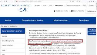 """Behörde RKI """"übernimmt KEINE Verantwortung für Richtigkeit"""" ihrer Informationen. Wie absurd noch?"""