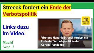 Hendrik Streeck fordert ein Ende der Verbotspolitik in der Corona Pandemie (WEB.de)