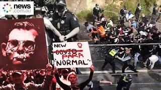 Lockdown protests turn chaotic in Melbourne and Brisbane