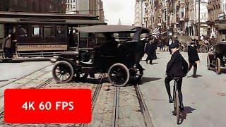 [4k, 60 fps] San Francisco, a Trip down Market Street, April 14, 1906