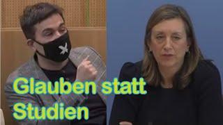 Glauben statt Studien: Merkels Grundlage für den Lockdown. Heute in der Bundespressekonferenz.