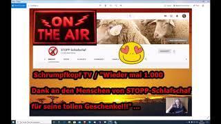 """Trailer: Schrumpfkopf TV / """"1.000 Dank erneut an den Menschen von STOPP–Schlafschaf!!!"""" ..."""