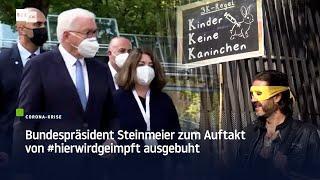 """Bundespräsident Steinmeier mit Protest konfrontiert: """"Kinder sind keine Versuchskaninchen"""""""