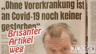 Corona-Obduktionen in Hamburg: Zeitungsartikel verschwunden über übliche Sterblichkeit
