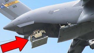 Massive Humvee Vehicles Air-Drop From Gigantic US C-17 Globemaster III