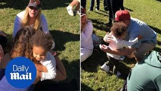 Little boy hugs EVERYONE at festival when it\'s time to leave