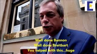 Censored video of Nigel Farage thanking Steve Bannon and Breitbart for Brexit
