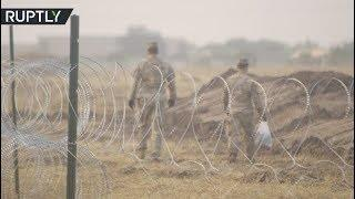 Military base set up at US-Mexico border in Donna, Texas