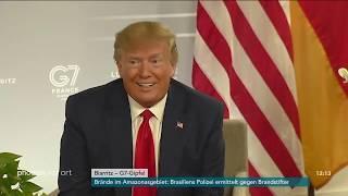 Pressekonferenz mit Angela Merkel und Donald Trump zum G7-Gipfel am 26.08.19