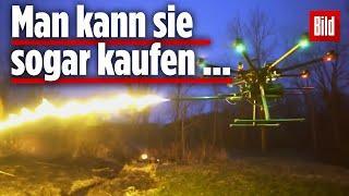 Drohnen als fliegende Flammenwerfer: Sie schießen 7 Meter weit!
