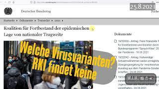 """Welche Virusvarianten? RKI findet """"keine"""" vor Abstimmung über epidemische Notlage. 5.8.2021"""