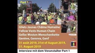 Gilets Jaunes Menschenkette, UN-Gebäude Genf 20190831 Part 1