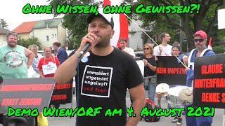 OHNE WISSEN, OHNE GEWISSEN? - DEMO vor dem ORF/Küniglberg am 4. August 2021