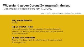 Widerstand gegen Corona Zwangsmaßnahmen: - Die komplette Pressekonferenz vom 17.09.2020