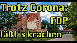 Die FDP lässt es trotz Corona krachen:Steckrübenrahmsuppe und Crème Brulée im Schloss-Restaurant.