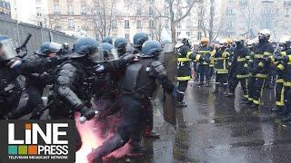 Police contre pompiers. Violents heurts / Paris - France 28 janvier 2020