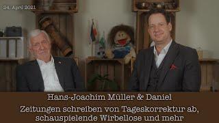 Hans-Joachim Müller & Daniel - Zeitungen schreiben von Tageskorrektur ab, schauspielende Wirbellose
