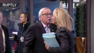 Drunk Juncker apparently feeling naughty at the EU summit