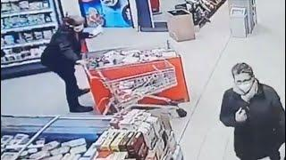 Bizarre video shows man freaking out over woman getting too close!