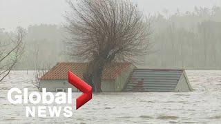 Portugal, Spain hit by severe floods and wind from Storm Fabian