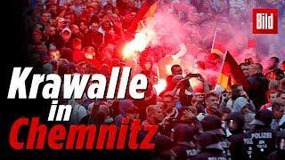 Krawalle in Chemnitz: Polizei hält rechte und linke Demonstranten auseinander