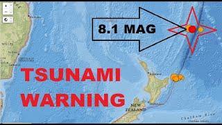 Huge 8.1 Mag Earthquake - Kermadec Islands, New Zealand Triggers Tsunami Warnings Across The Pacific