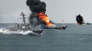 Terrible war, US Navy Arrest and Sink 300 Chinese Fishing Ships Off South America Coast