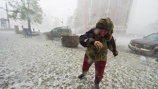 Crazy golf ball sized hailstorm hit Australia! Broken glass! Cars are damaged!