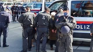 (162-T1). Demo 6.3.2021, Wien, ältere Frau wird verhaftet