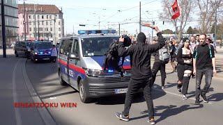 Polizei GROßAUFGEBOT bei CORONA-DEMO in Wien | 10.04.21