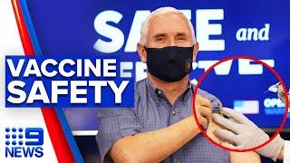 Fake-Impfung: Mike Pence vaccinated live on air to assure vaccine safety | 9 News Australia