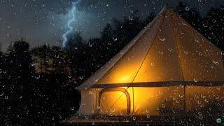 Starker Regen und Donner auf Zelt - 4 Stunden Naturgeräusche - Regengeräusche zum Einschlafen