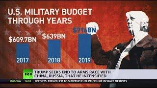 Changing tune: Trump bashes 'crazy' spending on arms – months after increasing it