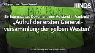 Aufruf der ersten Generalversammlung der gelben Westen | Übersetzt von Marco Wenzel