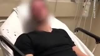 Ex-police officer caught on camera repeatedly striking a suicidal patient  in a hospital bed