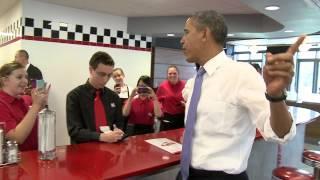 Obama macht einen Besuch im Fast-Food-Restaurant